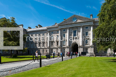 People walking through the grounds of Trinity College, Dublin, Ireland which was founded by Elizabeth 1 in 1592