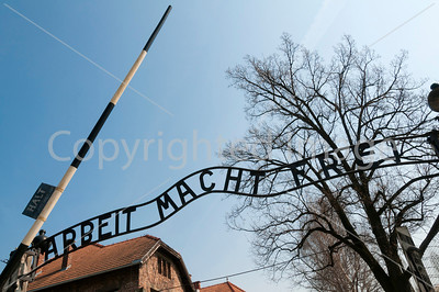 Sign at the entrance to Auschwitz concentration camp.