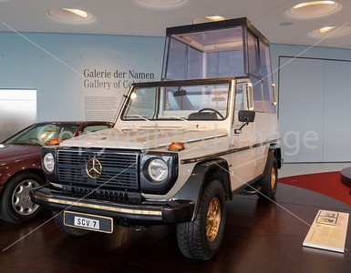 A 'Popemobile' on display at the Mercedes Museum in Stuttgart.