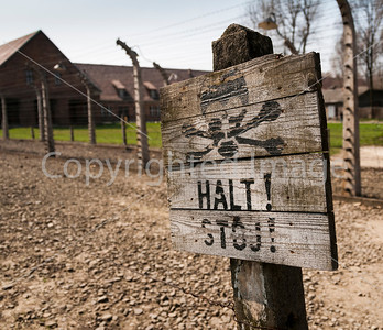 Sign in Auschwitz concentration camp.