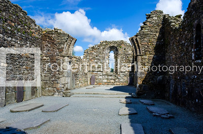The crumbling ruins of the Cathedral in the monastic settelment in Glendalough, Co Wicklow, Ireland