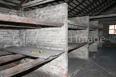 Where inmates slept in Auschwitz concentration camp.