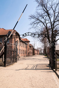 The entrance to Auschwitz concentration camp.
