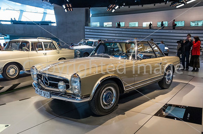A classic Mercedes from the 1970s on display in the Merceds Museum in Frankfort.